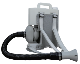 PBF-48, Front View showing 1 meter hose with On/Off Switch on tip of hose, backpack and straps, carry handle on top